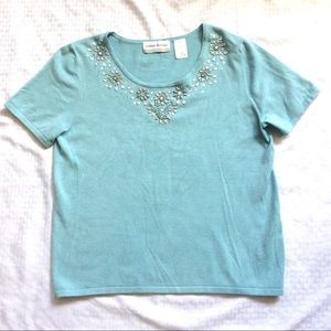 Blue Rayon Nylon Knit Short Sleeve Sweater Top $10